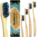 Bambus Zahnbürsten Biologisch Abbaubar Holzzahnbürste -4pcs Mittel bis Weich Bamboo Toothbrush