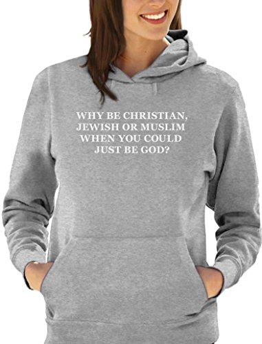 Green Turtle T-Shirts Geschenk für Atheisten - Why be Christian Damen Kapuzenpullover Hoodie X-Large Grau