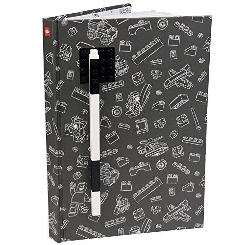 LEGO Zeitschrift mit Platte aus Backstein und grau Stift Gelcoat des schwarzen Steins geparkt und Feder 96 Breite regierte Seiten 6
