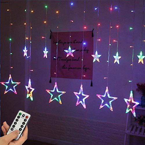 EONHUAYU Sterne Fenster Lichter, 12 Sterne 138 LED-Fenster-Lichterkette mit 8 Modi USB-Fernbedienung für Weihnachtsdekorationen (Multicolor) -