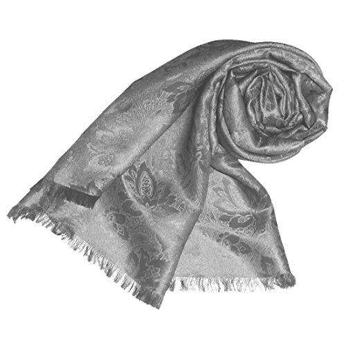 Preisvergleich Produktbild LORENZO CANA Seidenschal 55 cm x 190 cm Damast Jacquard Seidentuch Tuch Silber Schal einfarbig Seide Damenschal 89101