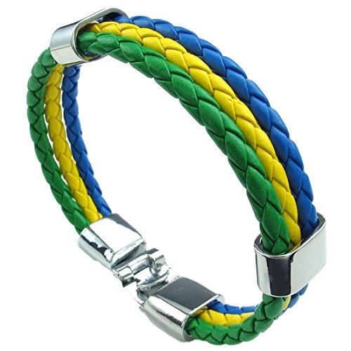 Gesponnenes Armband - SODIAL(R) Schmuck Armband, Brasilien Brasilianische Flagge Armreif, Leder Legierung, fuer Herren Damen, Gelb Gruen Blau(Breite 14mm,Laenge 21.5cm) (Leder Brasilianisches)