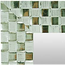 Espejo Decorativo, Espejo de Pared hecho en madera CMGdecor REF: F07 (BLANCO Y PLATA, 50 X 70 Cm)