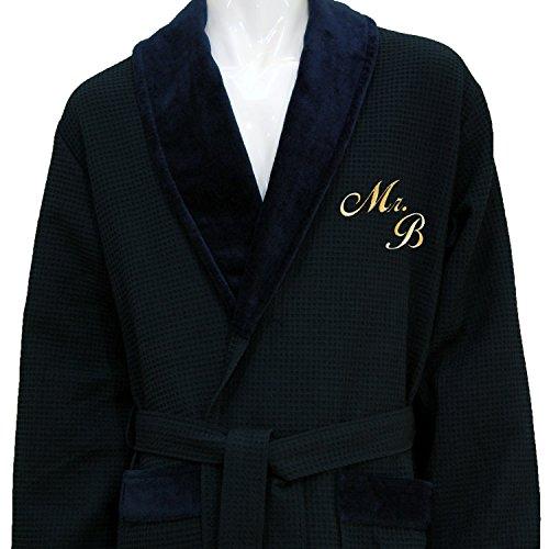 Preisvergleich Produktbild Personalisierte Monogramm Blau Waffel Schalkragen Bademantel – 100% Baumwolle,  100 % Baumwolle,  blau,  xxl