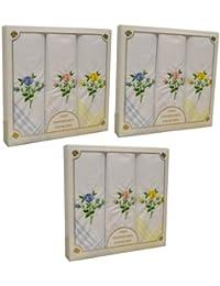 3 packs de 3 Womens/dames Rose Floral mouchoirs brodés avec des bordures colorées, dans une boîte cadeau