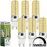 MENGS® Pack de 6 Regulable Bombilla lámpara LED 7 Watt G9, 72x 2835 SMD, Blanco cálido 3000K, AC 220-240V