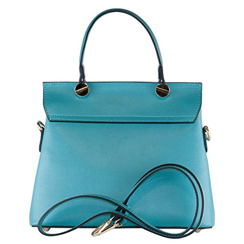 BORDERLINE - 100% Made in Italy - Borsa in Vera Pelle - ELEONORA Turchese