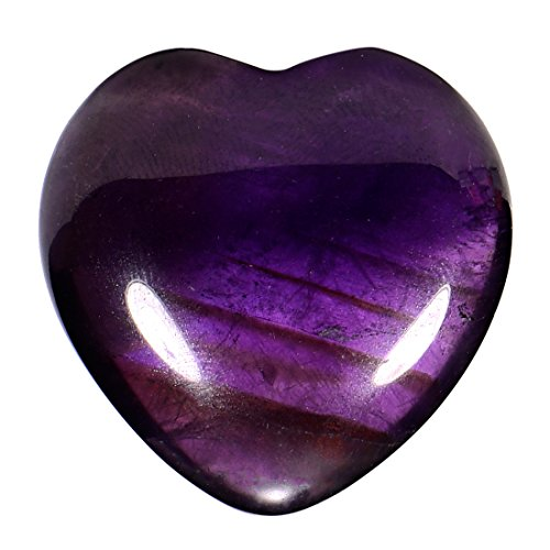 Morella Gemstone Gem Amethyst Heart Shape Guardian Angel 3 Protector cm in a velvet bag