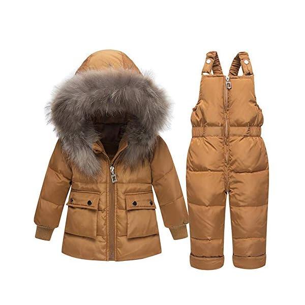 TYYM ski suit Niña Niño Traje De Nieve De 2 Piezas Niño Invierno Abrigo De Piel con Capucha Abrigada Abrigo De Plumón… 1