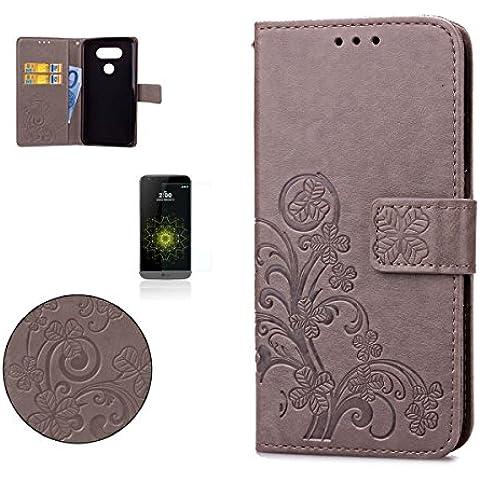 CaseHome LG G5 Wallet Funda,En Relieve Carcasa PU Leather Cuero Suave Impresión Cover Con Flip Case TPU Gel Silicona,Cierre Magnético,Función De Soporte,Billetera Con Tapa Libro Tarjetas Para Estilo Del Libro Estuche Del Protector Para LG G5-Gris