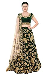 Fabron Green Machine Embroidery Lehenga Choli With Sequins Embellished