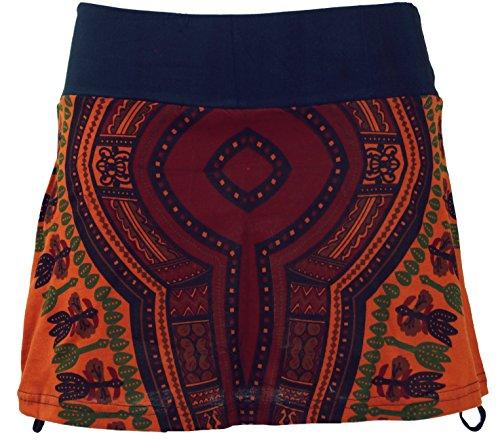 GURU-SHOP, Mini Falda, Dashiki Yogarock, Naranja Oxidado, Algodón, Tamaño:36, Faldas Cortas