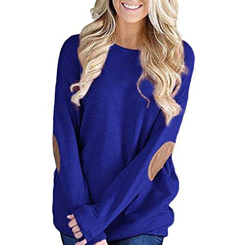 Frauen Tops Pullover, Damen Beiläufige Lose Langarm Rundhals Solide Patchwork Bottom Einfach Oberteile Women T-Shirt Bluse - Einfach S Motto Kostüm