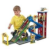 KidKraft 63267 Mega Ramp Autorennbahn aus Holz für Kinder mit Licht inklusiv 5 Spielzeugautos und Helikopter - kompatibel mit Hot Wheels und weiterem Zubehör