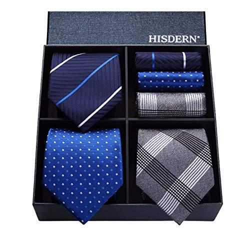 Hisdern Los 3 Stck Herren Krawattensatz Klassische Business-Hochzeitsfeier Tupfen-Karo Streifen Solid Color Krawatte und Einstecktuch - Mehrere Sets - Krawatte Streifen