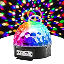 Disco Lights, Sound Activated Disco Ball Lights with USB Power Cable, 3W RGB Party Lights with Remote Control,6 Modes Stage Par Light Home Room Parties Christmas Karaoke Bar Show