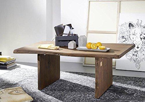 Table basse 120x70cm - Bois massif d'acacia laqué (Brun classique) - Design naturel - LIVE EDGE #005