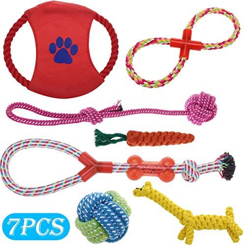 Lomsarsh Corda da addestramento per cani, giocattoli da masticare per cuccioli di cane Corda da addestramento per dentizione Giocattolo in gomma per cani di taglia piccola e media Cani da addestram