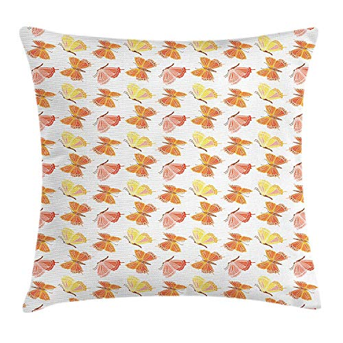 BUZRL Butterfly Throw Pillow Cushion Cover, Abstract Expression of Flying Sunburnt Color Swallowtail and Monarch Butterflies, Decorative Square Accent Pillow Case, 18 X 18 inches, Multicolor