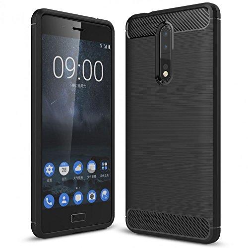 NALIA Handyhülle kompatibel mit Nokia 8, Ultra-Slim Silikon Case Cover, Dünne Crystal Phone Schutzhülle, Stoßfeste Hülle Etui Handy-Tasche Backcover Bumper, TPU Smartphone Gummihülle - Schwarz