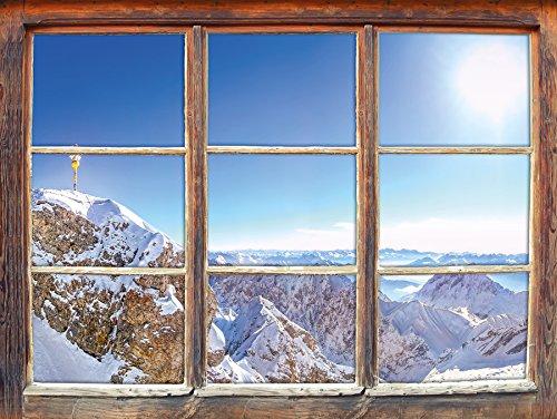 Stil.Zeit Möbel Zugspitze im Sonnenlicht, Fenster 3D-Wandsticker Format: 92x62cm Wanddekoration 3D-Wandaufkleber Wandtattoo