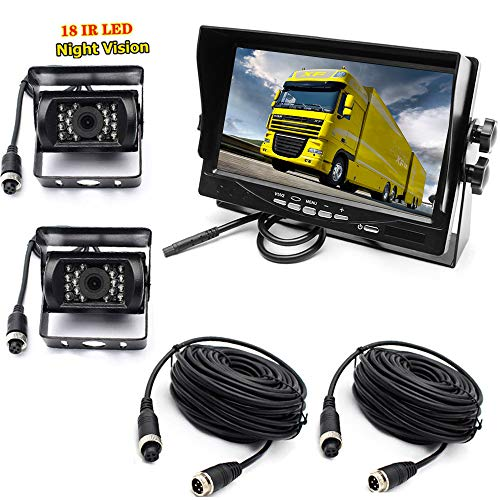 """pumpkin1: Car Reverse Camera System, 4Pin 12-24V 2x Waterproof 18-LED Night Vision Reverse Camera with 10M Aerial Cable + 7 """"TFT LCD Car Monitor for Large Truck Bus RVs"""