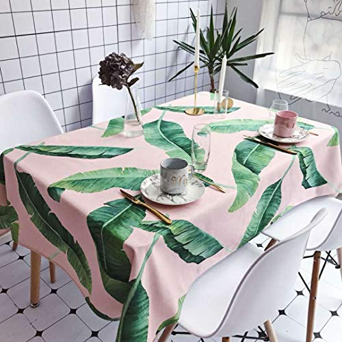 zhimu Tableloth Cotton Hemp Dustproof Wasserproof Anti-Oil Tisch Rot Bottom Green Blatt Tischtuch Zu Hause Picknick-Touch-Tuch Tisch Tisch Tisch Tisch Tisch Tisch Tisch Tisch Tisch Tisch 140x180cm