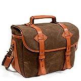 Vintage Kameratasche Canvas Leder Trim SLR Digitalkamera Schulter Messenger Bag abnehmbare...