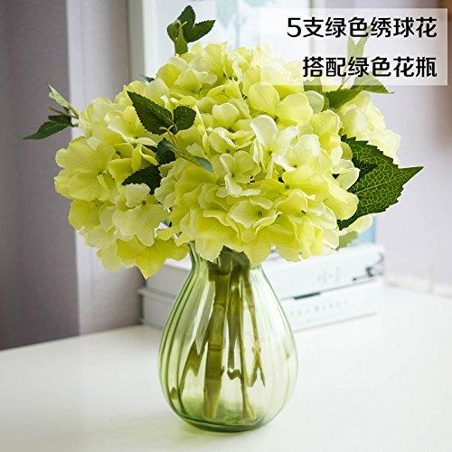 Jhdh2-transparent Glass Vases Modern Minimalist Home Decorations Living Room Emulation Hydrangea Artificial Flowers Overall Floral Kit , Green Bottle
