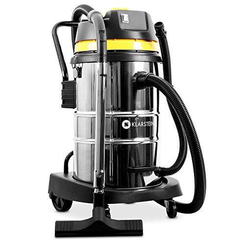 Klarstein IVC-50 • Industriesauger • Nasssauger • Trockensauger • 2000 W • IP X4-Schutz • Doppelradmotor • 50 Liter Edelstahl-Behälter • Schnellverschlüsse aus Metall • HEPA-Feinstofffilter • 70 cm Wasserablaufschlauch • umfangreiches Zubehör • silber-gelb - 8