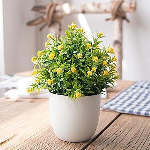 SYHOME Künstliche Blumen Pflanze grüner Seide Bonsai Miniatur Landschaften innere Decorationation Desktop Teile Gelb