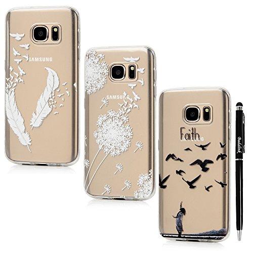 BADALink Hülle für Samsung Galaxy S7 3 Stück TPU Case Silikon Tasche FederLeicht Gummi Bumper Cover Schutz Schale Siliconcase Silikon Tasche Schutzhülle mit Vogel, Löwenzahn + Feder + Kapazitiv Design
