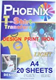 A4 Size Iron On T Shirt Transfer Paper FOR Light Colour Fabrics 20 Sheets