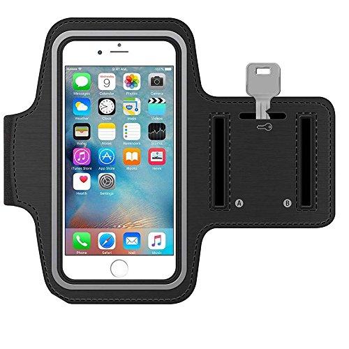MMOBIEL Sportband Armband für iPhone 5 5C 5S SE (Schwarz) Schlüsselhalterung wasserfest Leichtgewicht Soft Neopren Material Stretch mit Reflektierendem Rand verstellbar mit Öffnung für Head-Set