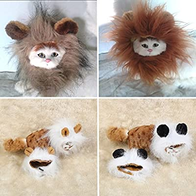 Autone Lion Hair Headgear for Small Dog and Cats,Lion Mane Wig Puppy Cosplay Costume for Halloween Christmas Easter Festival Party Activity by Autone