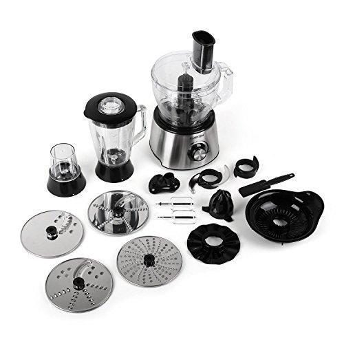 Klarstein The-Foodfather-II Universal Küchenmaschine mit Mixer (800W, 2 Liter Rührschüssel, 1,5 Liter Glas-Standmixer-Aufsatz, umfangreiches Zubehör Set)