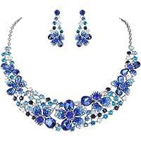 Ever Faith Mai FaithSilver-Tone di cristallo austriaca del fiore dell'ibisco collana orecchini set zaffiro blu-colore N05206-9 - Strass Floreali Collana Orecchini