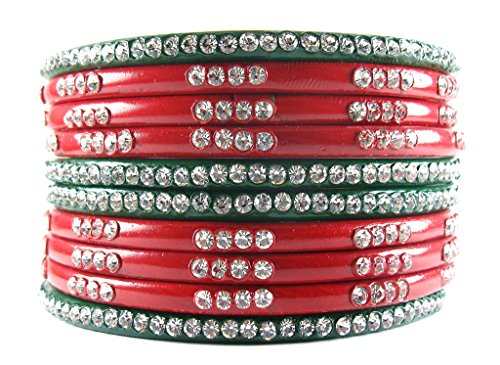 Sukriti Rajasthani Bridal Red Green Chura Bangles for Women - Set of 10  available at amazon for Rs.399