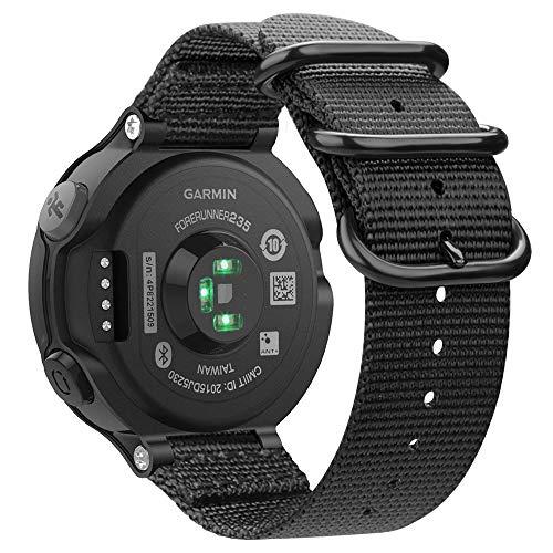 Fintie Armband für Garmin Forerunner 235/220 / 230/620 / 630 / 735XT Smart Watch - Nylon Uhrenarmband Sport Armband verstellbares Ersatzband mit Edelstahlschnallen (Schwarz)