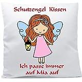 Kissen mit Namen Wunschtext Schutzengel Mädchen rote Haare 40x40 cm inkl. Füllung Kuschelkissen,...
