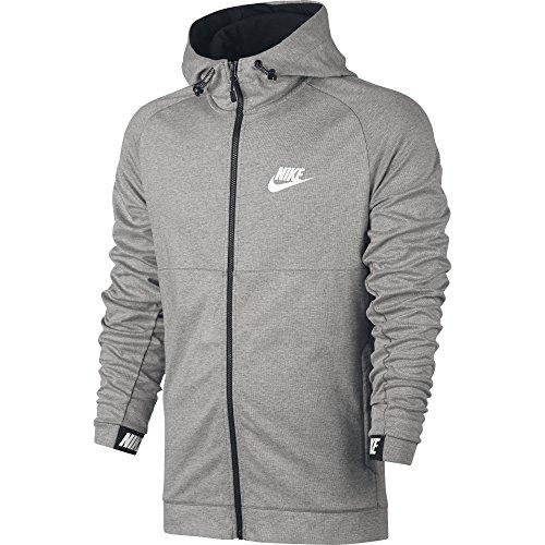 Nike Herren M Nsw Advance 15 Hoodie Fz Fleece Trainingsjacke mit Kapuze Dunkel Heidekraut grau/Schwarz/Weiß