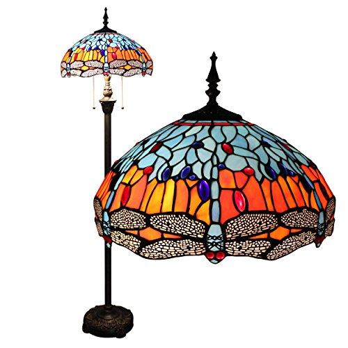 Gweat 16-Zoll-Tiffany Dragonfly Europäischen Retro Wohnzimmer Schlafzimmer Villa Bar Study Klassische Persönlichkeit Colored Glass Dekorative Stehleuchte - Klassische Tiffany-tischlampe
