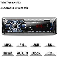TobeTree Autoradio Bluetooth, Control Remoto Manos Libres FM Estéreo de Coche 60W x 4, Apoyo de Reproductor MP3 Llamadas Manos Libres, Función de Radio y de Archivo
