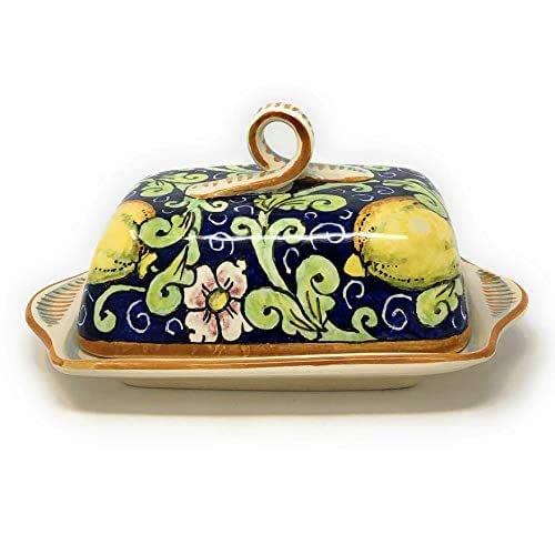 CERAMICHE D'ARTE PARRINI- Ceramica italiana artistica, burriera decorazione limoni, dipinto a mano, made in ITALY Toscana