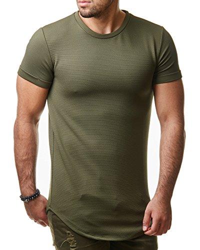 EightyFive Herren T-Shirt Regular Basic Gesteppt Gerippt Schwarz Khaki EF1020 Khaki