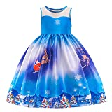 Riou Weihnachten Baby Kleidung Set Kinder Pullover Pyjama Outfits Set Familie Kleinkind Kinder Baby Mädchen Santa Print Prinzessin Kleid Partykleid Weihnachten (100, Blau)