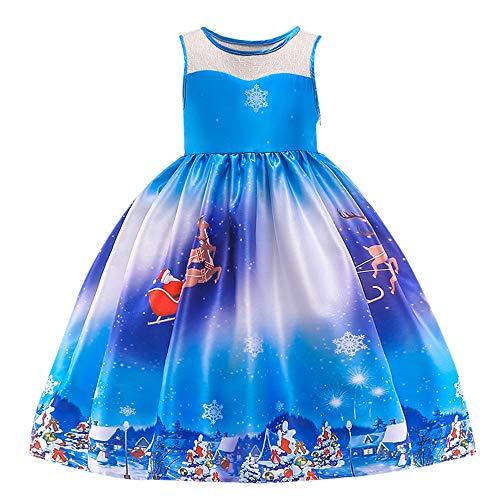 (Riou Weihnachten Baby Kleidung Set Kinder Pullover Pyjama Outfits Set Familie Kleinkind Kinder Baby Mädchen Santa Print Prinzessin Kleid Partykleid Weihnachten (100, Blau))