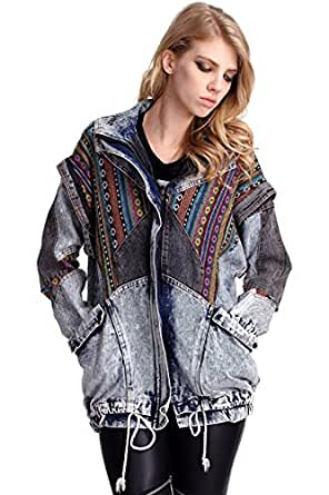 damen oversized aztec jeansjacke bekleidung. Black Bedroom Furniture Sets. Home Design Ideas