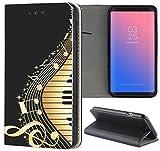 Samsung Galaxy S6 Edge G925 Hülle Premium Smart Einseitig Flipcover Hülle Samsung Galaxy S6 Edge G925 Flip Case Handyhülle Galaxy S6 Edge G925 Motiv (366 Klavier Noten Schwarz)