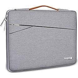 TECOOL Housse pour Ordinateur Portable, Serviette de Protection Sacoche avec poignée pour 14 Pouces PC Netbook Ultrabooks Huawei Lenovo Thinkpad Dell HP Acer ASUS, Gris